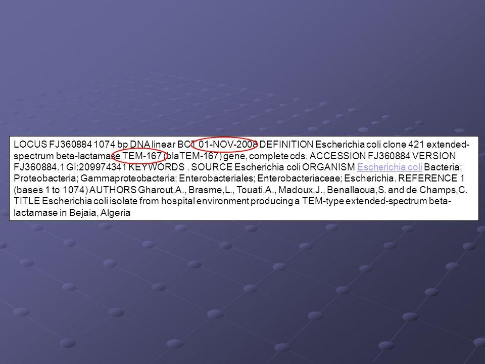 LOCUS FJ360884 1074 bp DNA linear BCT 01-NOV-2008 DEFINITION Escherichia coli clone 421 extended- spectrum beta-lactamase TEM-167 (blaTEM-167) gene, c