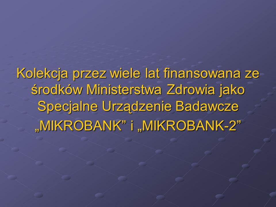 Kolekcja przez wiele lat finansowana ze środków Ministerstwa Zdrowia jako Specjalne Urządzenie Badawcze MIKROBANK i MIKROBANK-2