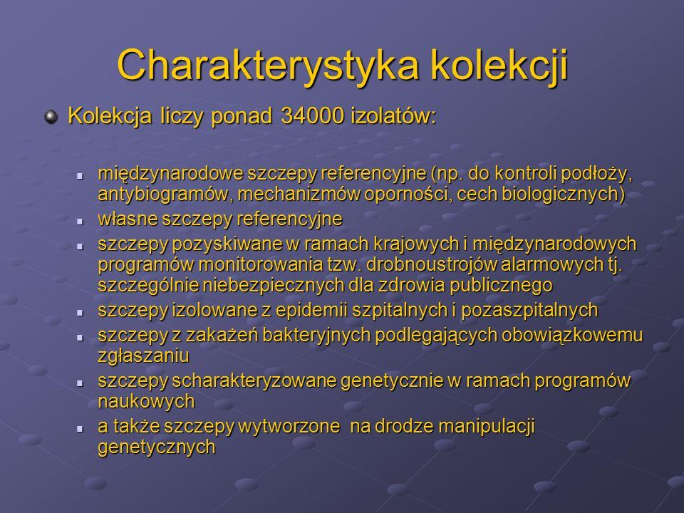 Charakterystyka kolekcji Kolekcja liczy ponad 34000 izolatów: międzynarodowe szczepy referencyjne (np. do kontroli podłoży, antybiogramów, mechanizmów