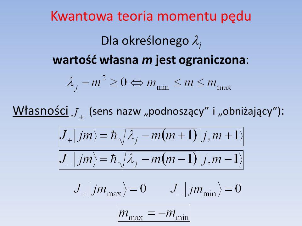 Kwantowa teoria momentu pędu Dla określonego j wartość własna m jest ograniczona: Własności (sens nazw podnoszący i obniżający) :