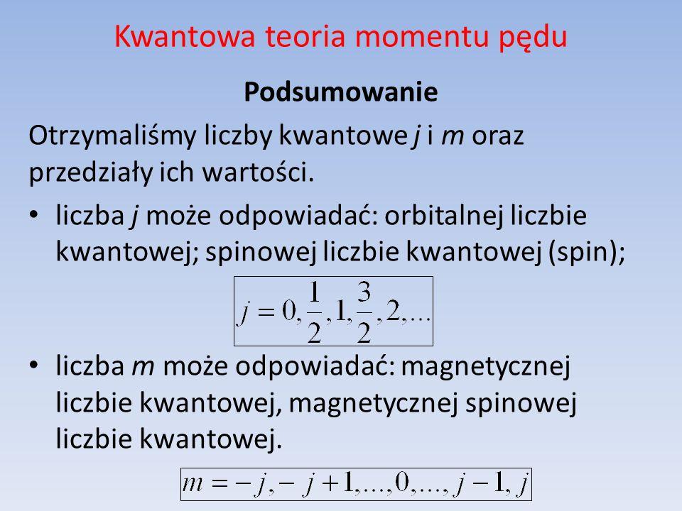 Kwantowa teoria momentu pędu Podsumowanie Otrzymaliśmy liczby kwantowe j i m oraz przedziały ich wartości. liczba j może odpowiadać: orbitalnej liczbi
