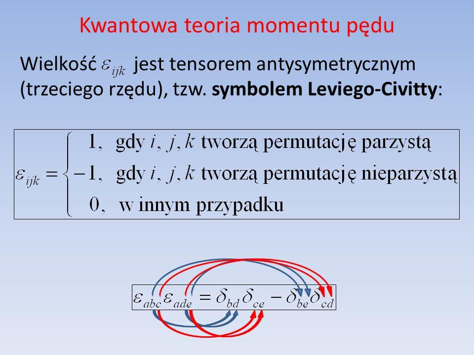 Kwantowa teoria momentu pędu Wielkość jest tensorem antysymetrycznym (trzeciego rzędu), tzw. symbolem Leviego-Civitty: