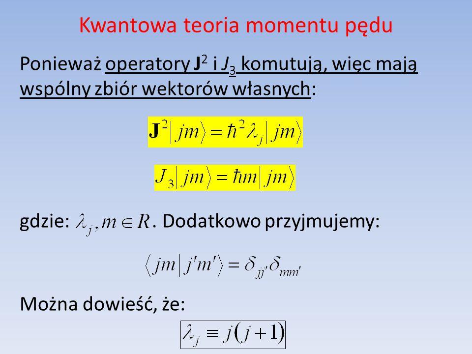 Kwantowa teoria momentu pędu Ponieważ operatory J 2 i J 3 komutują, więc mają wspólny zbiór wektorów własnych: gdzie:. Dodatkowo przyjmujemy: Można do