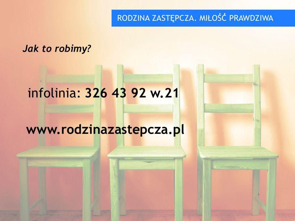 infolinia: 326 43 92 w.21 Jak to robimy www.rodzinazastepcza.pl