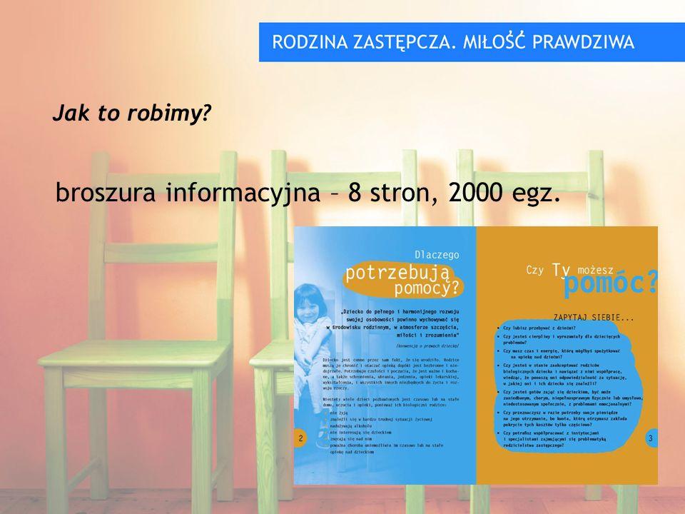 broszura informacyjna – 8 stron, 2000 egz. Jak to robimy