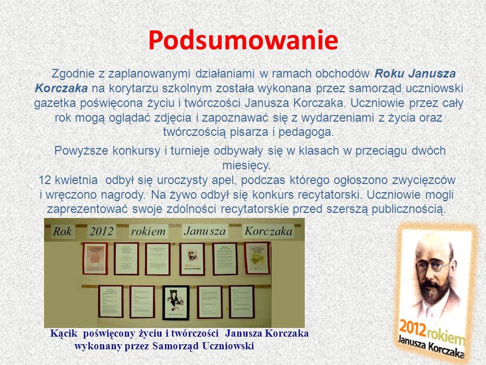 Podsumowanie Zgodnie z zaplanowanymi działaniami w ramach obchodów Roku Janusza Korczaka na korytarzu szkolnym została wykonana przez samorząd uczniow