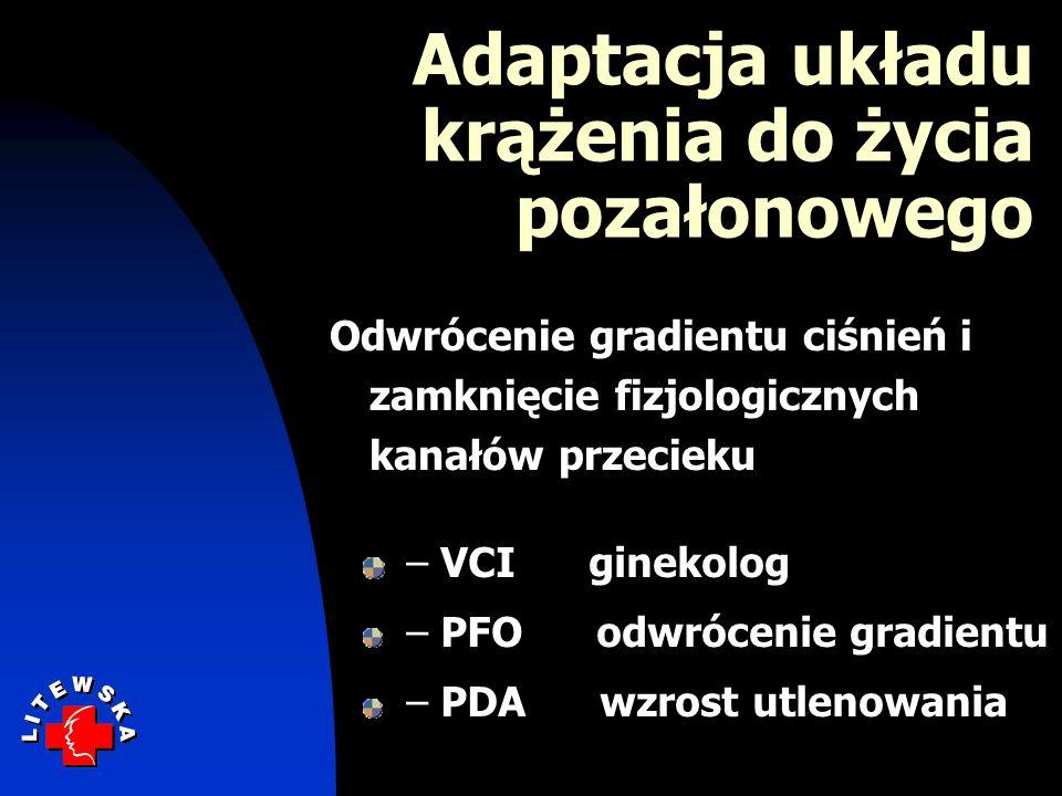 – VCI ginekolog – PFO odwrócenie gradientu – PDA wzrost utlenowania Adaptacja układu krążenia do życia pozałonowego