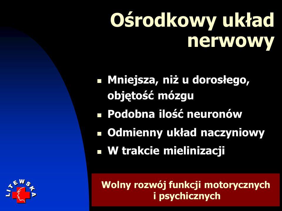 Ośrodkowy układ nerwowy Mniejsza, niż u dorosłego, objętość mózgu Podobna ilość neuronów Odmienny układ naczyniowy W trakcie mielinizacji Wolny rozwój funkcji motorycznych i psychicznych