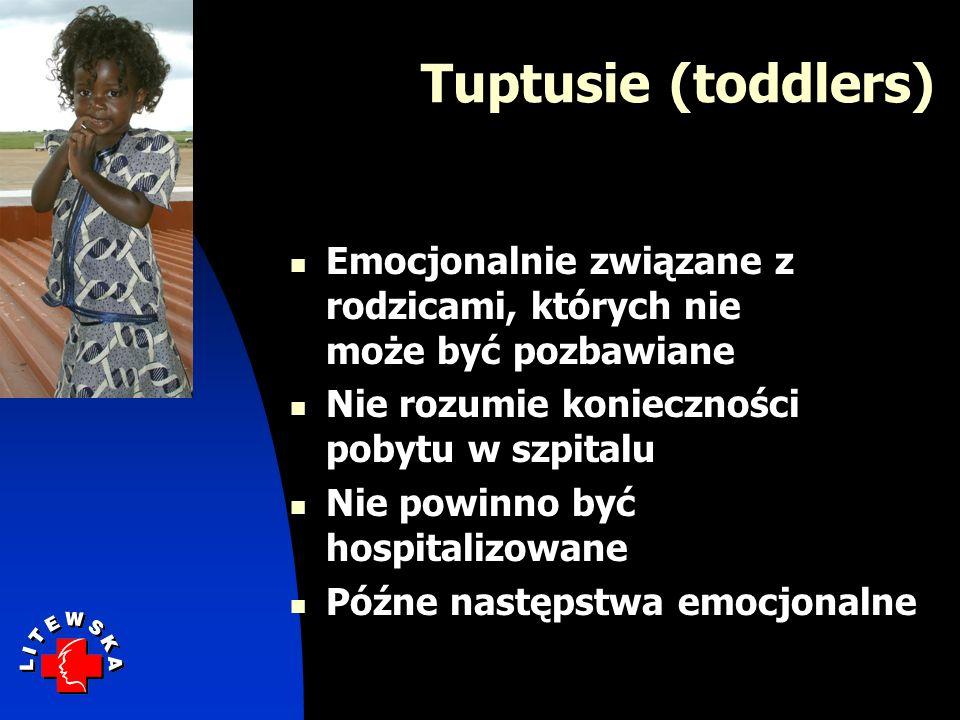 Tuptusie (toddlers) Emocjonalnie związane z rodzicami, których nie może być pozbawiane Nie rozumie konieczności pobytu w szpitalu Nie powinno być hosp
