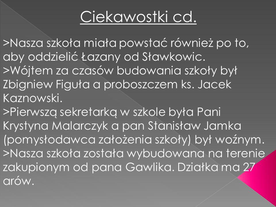 Ciekawostki cd. >Nasza szkoła miała powstać również po to, aby oddzielić Łazany od Sławkowic. >Wójtem za czasów budowania szkoły był Zbigniew Figuła a