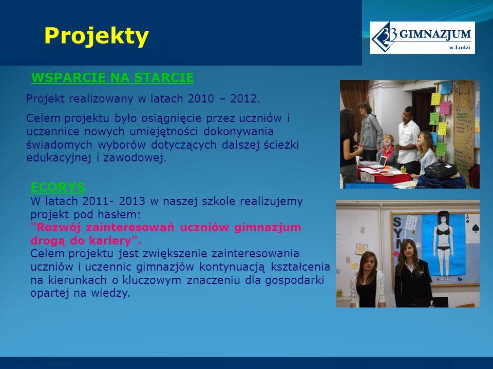 WSPARCIE NA STARCIE Projekt realizowany w latach 2010 – 2012. Celem projektu było osiągnięcie przez uczniów i uczennice nowych umiejętności dokonywani