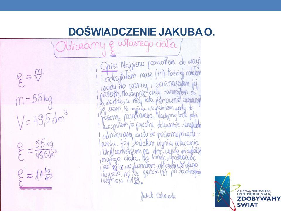 PORÓWNANIE WSKAŹNIKÓW BDI UczeńWskaźnik BDI (kg/cm 3 ) Jakub Ostrowski 1 100 Jakub Jakubczak 773 Zapytaliśmy lekarza, czy gęstość ciała ludzkiego może być mniejsza od gęstości wody.