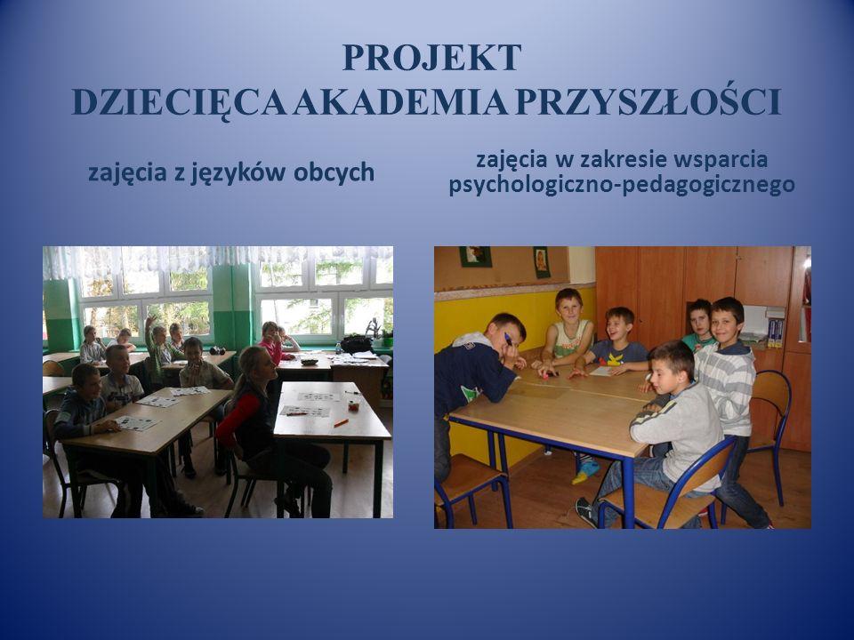 PROJEKT DZIECIĘCA AKADEMIA PRZYSZŁOŚCI zajęcia z języków obcych zajęcia w zakresie wsparcia psychologiczno-pedagogicznego