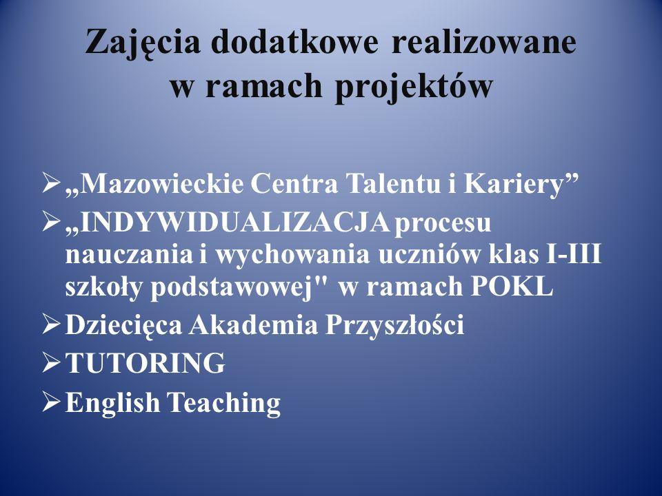 Zajęcia dodatkowe realizowane w ramach projektów Mazowieckie Centra Talentu i Kariery INDYWIDUALIZACJA procesu nauczania i wychowania uczniów klas I-III szkoły podstawowej w ramach POKL Dziecięca Akademia Przyszłości TUTORING English Teaching
