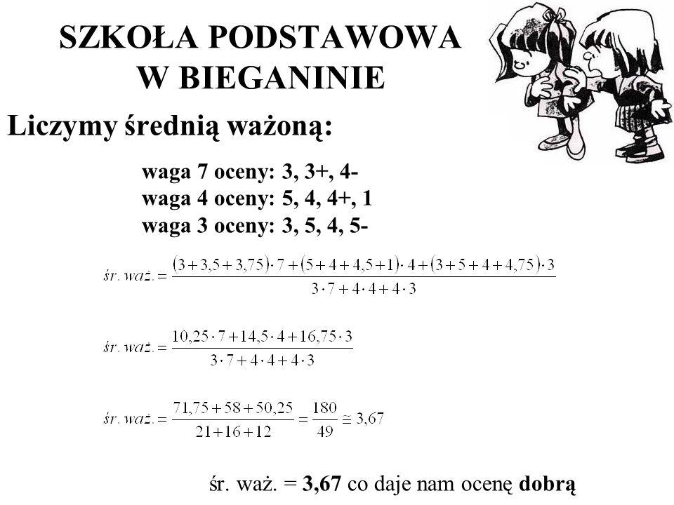 SZKOŁA PODSTAWOWA W BIEGANINIE Liczymy średnią ważoną: waga 7 oceny: 3, 3+, 4- waga 4 oceny: 5, 4, 4+, 1 waga 3 oceny: 3, 5, 4, 5- śr.
