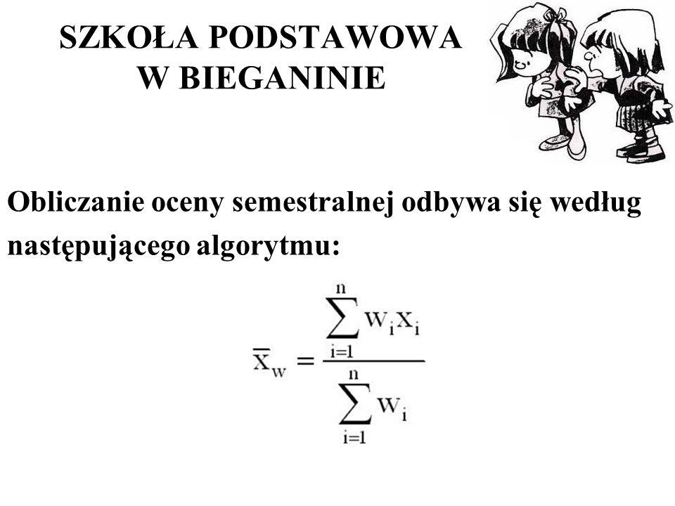 SZKOŁA PODSTAWOWA W BIEGANINIE Obliczanie oceny semestralnej odbywa się według następującego algorytmu: