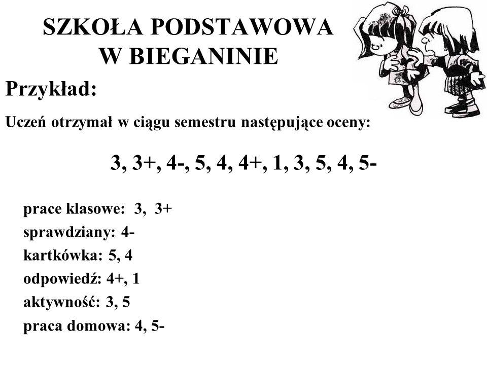 SZKOŁA PODSTAWOWA W BIEGANINIE Przykład: Uczeń otrzymał w ciągu semestru następujące oceny: 3, 3+, 4-, 5, 4, 4+, 1, 3, 5, 4, 5- prace klasowe: 3, 3+ sprawdziany: 4- kartkówka: 5, 4 odpowiedź: 4+, 1 aktywność: 3, 5 praca domowa: 4, 5-