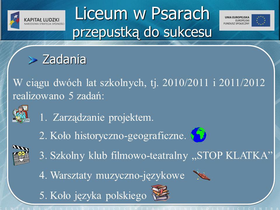 Liceum w Psarach przepustką do sukcesu Zadania Zadania W ciągu dwóch lat szkolnych, tj.