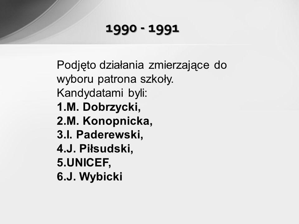 Podjęto działania zmierzające do wyboru patrona szkoły. Kandydatami byli: 1. M. Dobrzycki, 2. M. Konopnicka, 3. I. Paderewski, 4. J. Piłsudski, 5. UNI