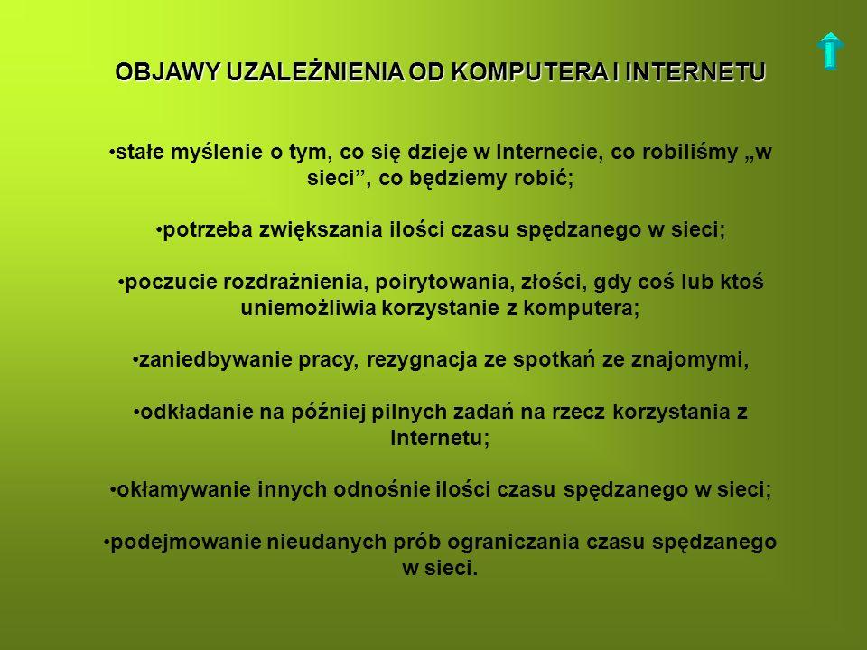 OBJAWY UZALEŻNIENIA OD KOMPUTERA I INTERNETU stałe myślenie o tym, co się dzieje w Internecie, co robiliśmy w sieci, co będziemy robić; potrzeba zwięk
