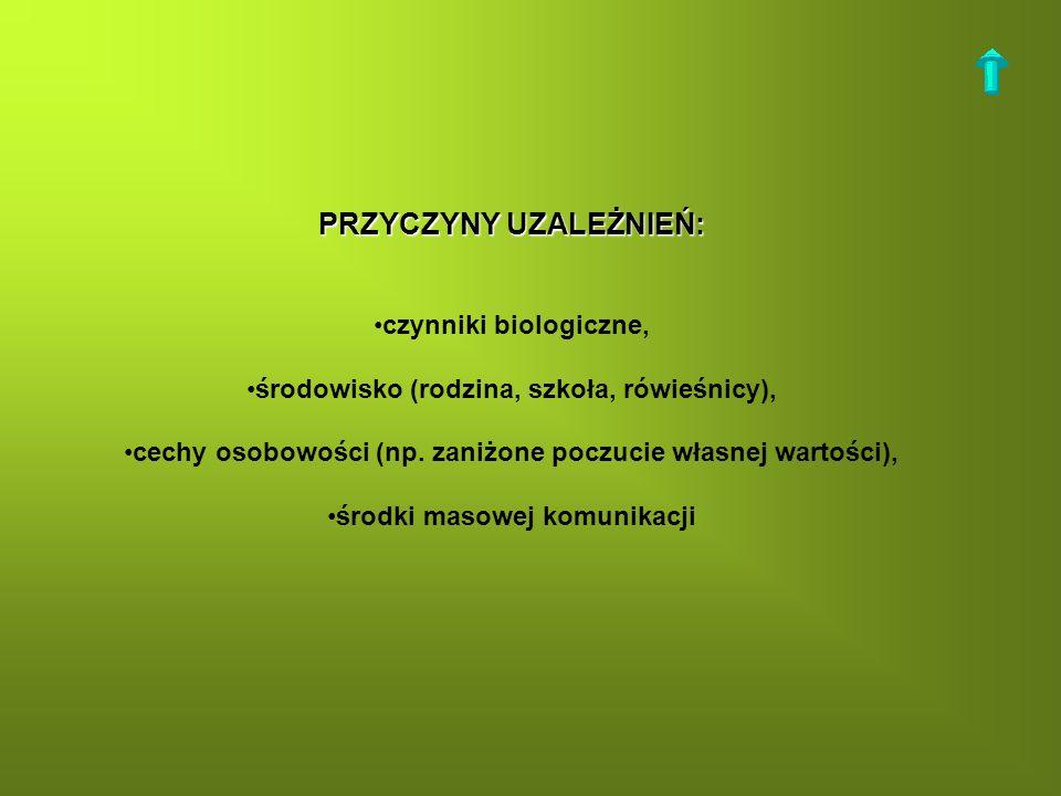 PRZYCZYNY UZALEŻNIEŃ: czynniki biologiczne, środowisko (rodzina, szkoła, rówieśnicy), cechy osobowości (np. zaniżone poczucie własnej wartości), środk
