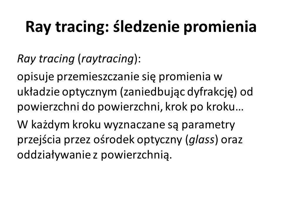 Ray tracing: śledzenie promienia Ray tracing (raytracing): opisuje przemieszczanie się promienia w układzie optycznym (zaniedbując dyfrakcję) od powierzchni do powierzchni, krok po kroku… W każdym kroku wyznaczane są parametry przejścia przez ośrodek optyczny (glass) oraz oddziaływanie z powierzchnią.