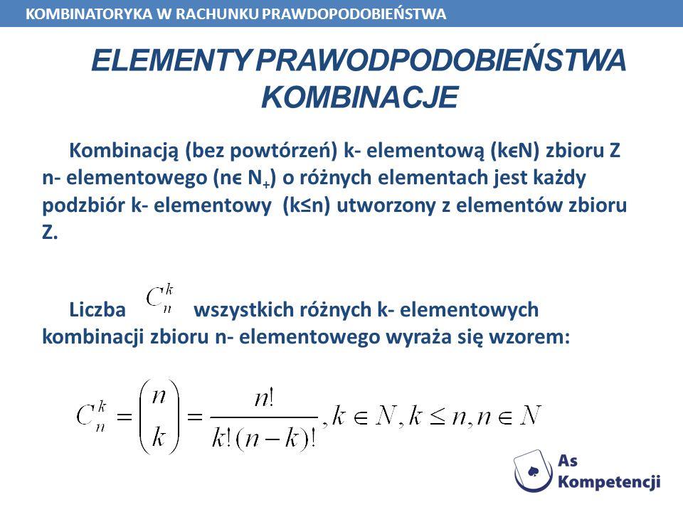 ELEMENTY PRAWODPODOBIEŃSTWA KOMBINACJE Kombinacją (bez powtórzeń) k- elementową (kϵN) zbioru Z n- elementowego (nϵ N + ) o różnych elementach jest każ