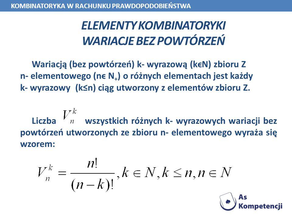 ELEMENTY KOMBINATORYKI WARIACJE BEZ POWTÓRZEŃ Wariacją (bez powtórzeń) k- wyrazową (kϵN) zbioru Z n- elementowego (nϵ N + ) o różnych elementach jest
