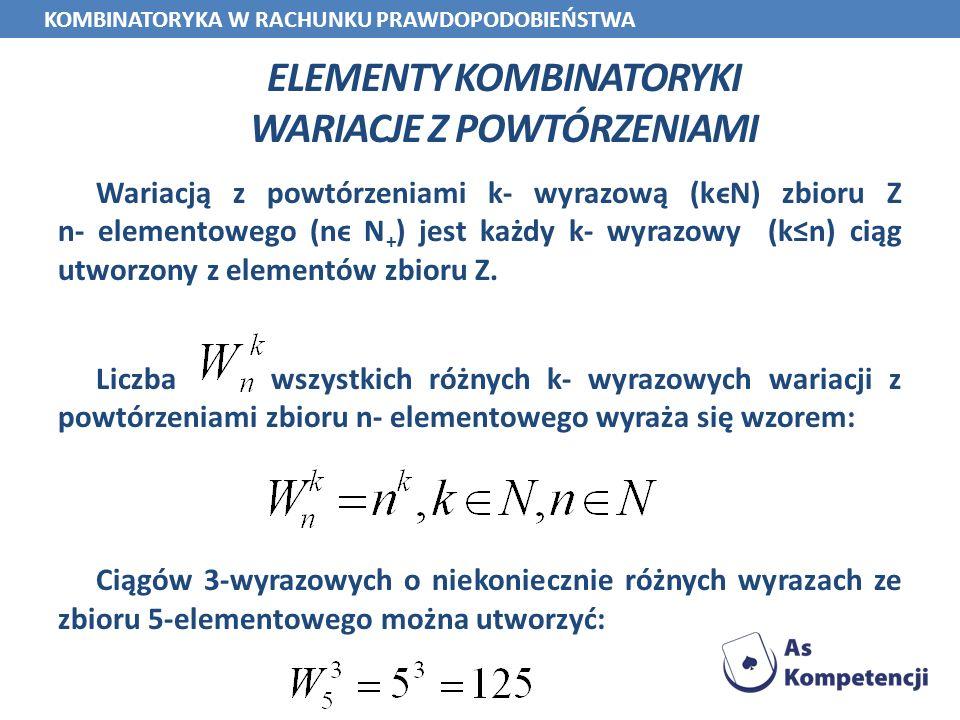 ELEMENTY KOMBINATORYKI WARIACJE Z POWTÓRZENIAMI Wariacją z powtórzeniami k- wyrazową (kϵN) zbioru Z n- elementowego (nϵ N + ) jest każdy k- wyrazowy (