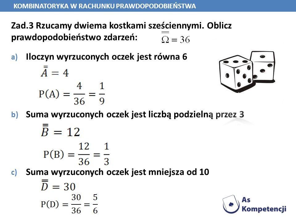Zad.3 Rzucamy dwiema kostkami sześciennymi. Oblicz prawdopodobieństwo zdarzeń: a) Iloczyn wyrzuconych oczek jest równa 6 b) Suma wyrzuconych oczek jes