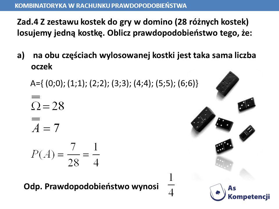 Zad.4 Z zestawu kostek do gry w domino (28 różnych kostek) losujemy jedną kostkę. Oblicz prawdopodobieństwo tego, że: a) na obu częściach wylosowanej
