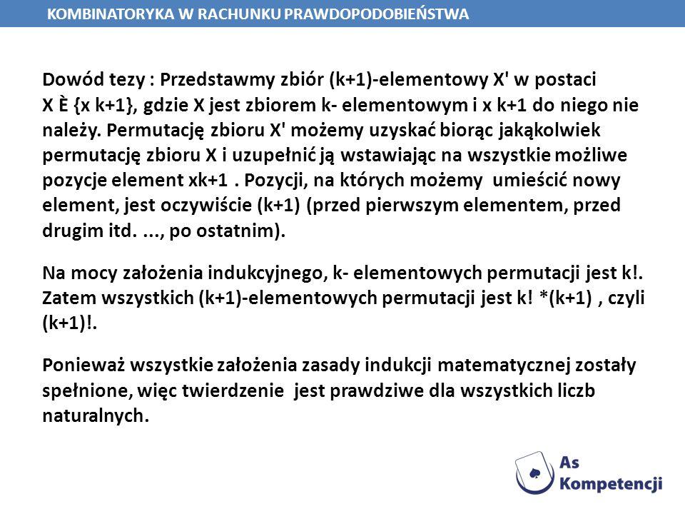 Dowód tezy : Przedstawmy zbiór (k+1)-elementowy X' w postaci X È {x k+1}, gdzie X jest zbiorem k- elementowym i x k+1 do niego nie należy. Permutację