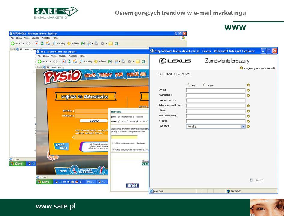 www.sare.pl Osiem gorących trendów w e-mail marketingu WWW
