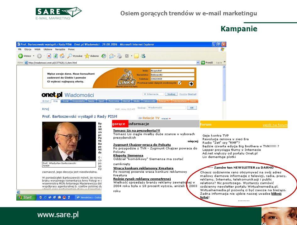 www.sare.pl Osiem gorących trendów w e-mail marketingu Kampanie