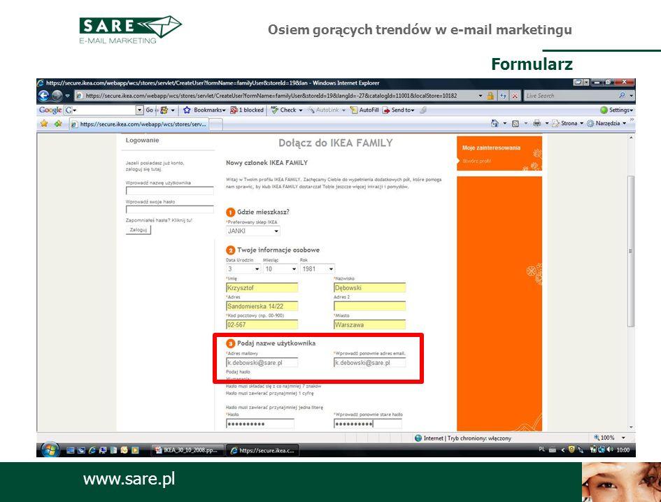 www.sare.pl Osiem gorących trendów w e-mail marketingu Formularz
