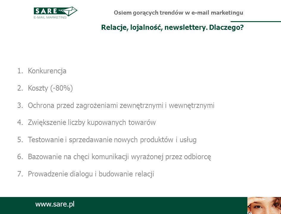www.sare.pl 1.Konkurencja 2.Koszty (-80%) 3.Ochrona przed zagrożeniami zewnętrznymi i wewnętrznymi 4.Zwiększenie liczby kupowanych towarów 5.Testowani