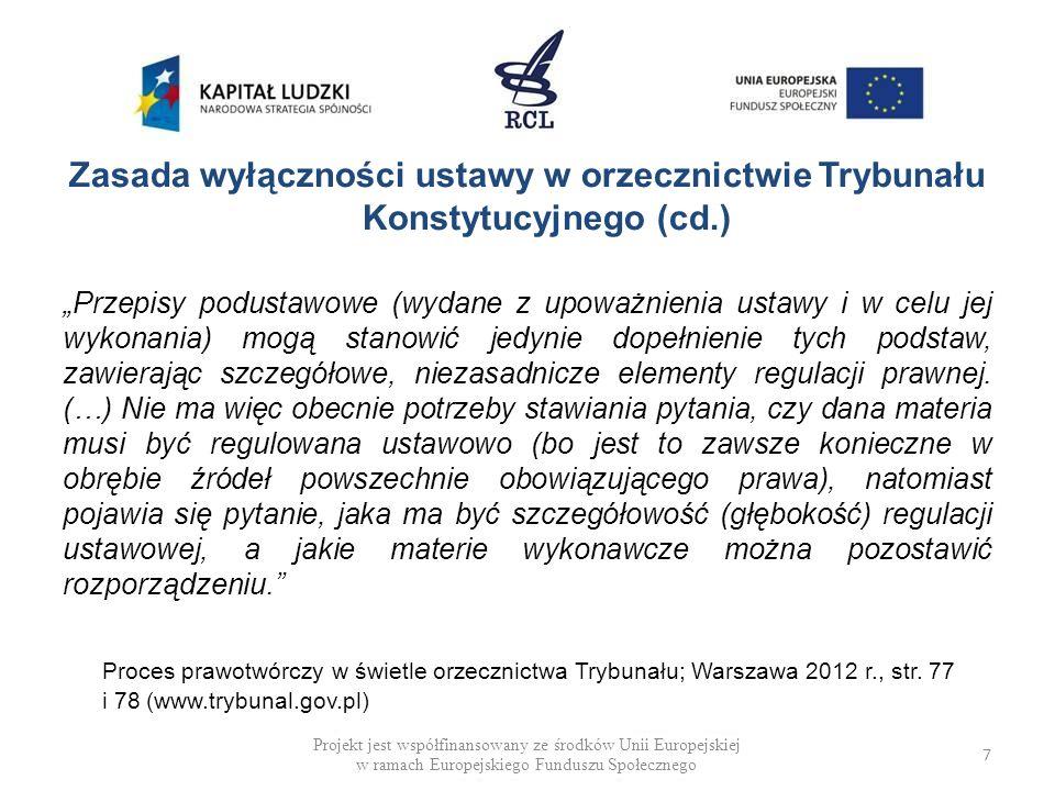 DEFICYT MATERII USTAWOWEJ (PRZYKŁADY) Ustawa z dnia 7 września 1991 r.
