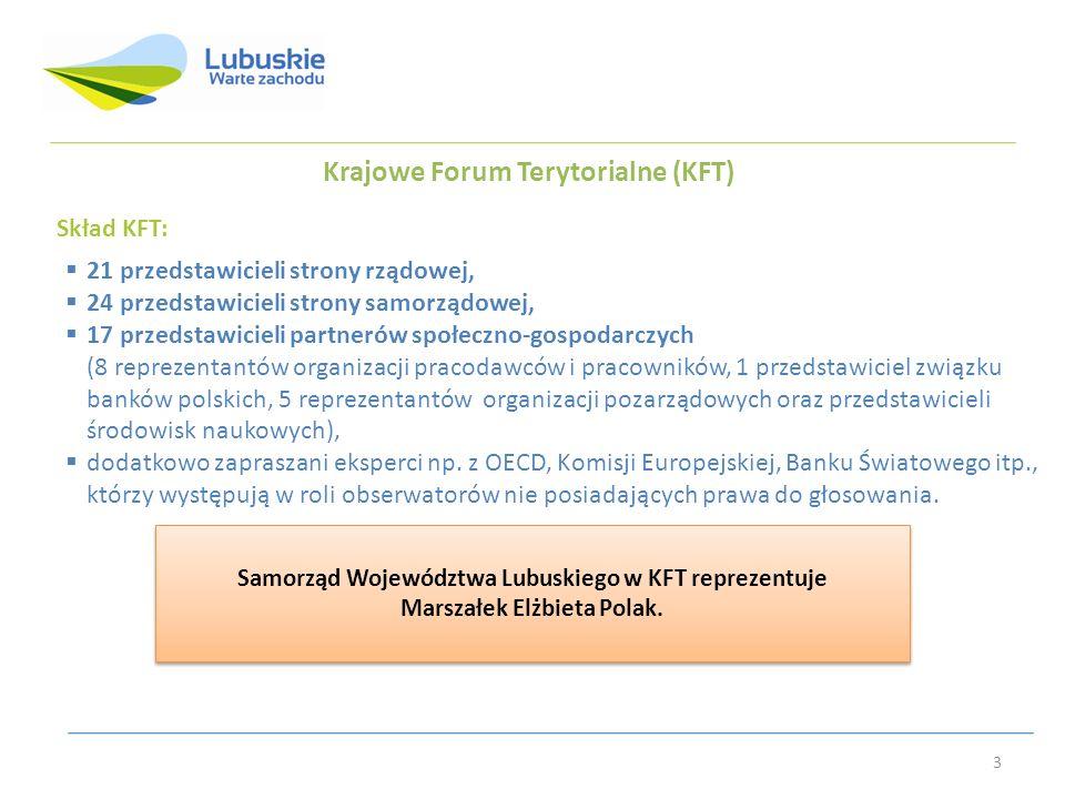 Krajowe Forum Terytorialne (KFT) Skład KFT: 21 przedstawicieli strony rządowej, 24 przedstawicieli strony samorządowej, 17 przedstawicieli partnerów społeczno-gospodarczych (8 reprezentantów organizacji pracodawców i pracowników, 1 przedstawiciel związku banków polskich, 5 reprezentantów organizacji pozarządowych oraz przedstawicieli środowisk naukowych), dodatkowo zapraszani eksperci np.