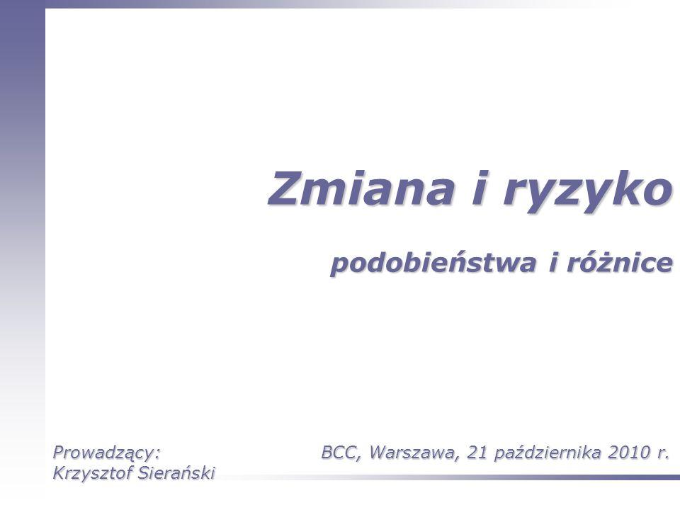 Zmiana i ryzyko podobieństwa i różnice Prowadzący: Krzysztof Sierański BCC, Warszawa, 21 października 2010 r.