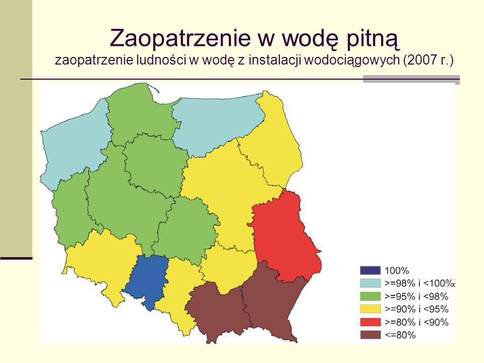 Zaopatrzenie w wodę pitną zaopatrzenie ludności w wodę z instalacji wodociągowych (2007 r.)
