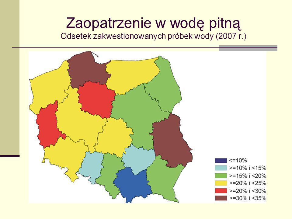 Zaopatrzenie w wodę pitną Odsetek zakwestionowanych próbek wody (2007 r.)