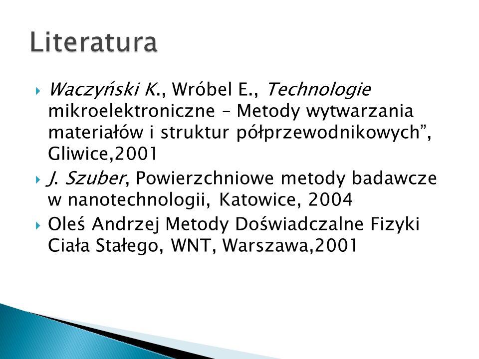 Waczyński K., Wróbel E., Technologie mikroelektroniczne – Metody wytwarzania materiałów i struktur półprzewodnikowych, Gliwice,2001 J. Szuber, Powierz
