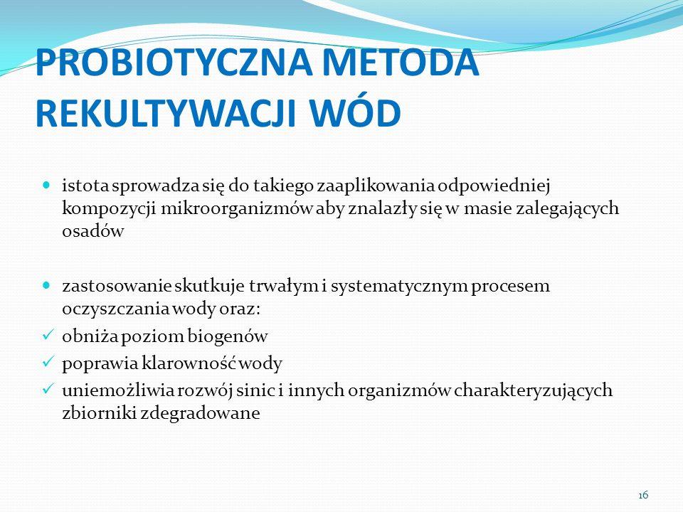 PROBIOTYCZNA METODA REKULTYWACJI WÓD istota sprowadza się do takiego zaaplikowania odpowiedniej kompozycji mikroorganizmów aby znalazły się w masie za