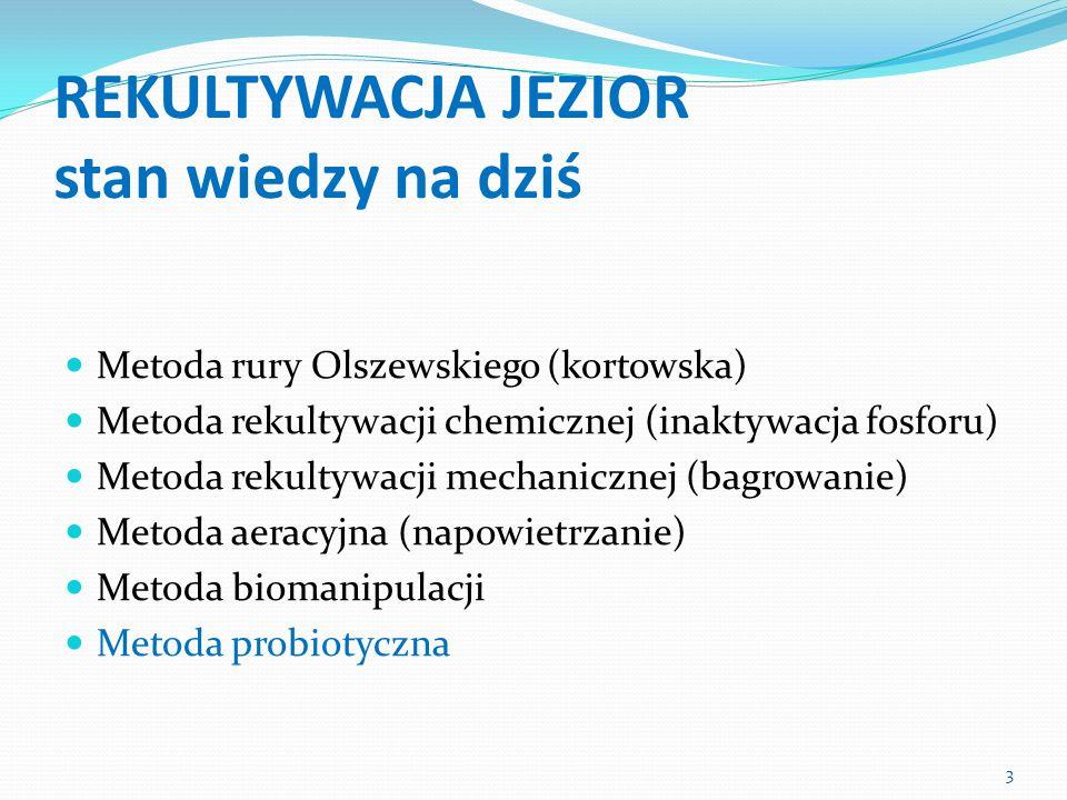 REKULTYWACJA JEZIOR stan wiedzy na dziś Metoda rury Olszewskiego (kortowska) Metoda rekultywacji chemicznej (inaktywacja fosforu) Metoda rekultywacji