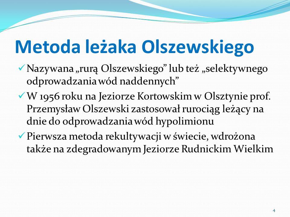 Metoda leżaka Olszewskiego Nazywana rurą Olszewskiego lub też selektywnego odprowadzania wód naddennych W 1956 roku na Jeziorze Kortowskim w Olsztynie