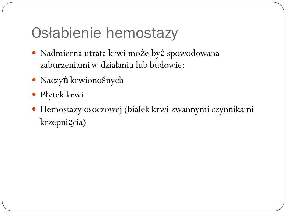 Osłabienie hemostazy Nadmierna utrata krwi mo ż e by ć spowodowana zaburzeniami w działaniu lub budowie: Naczy ń krwiono ś nych Płytek krwi Hemostazy