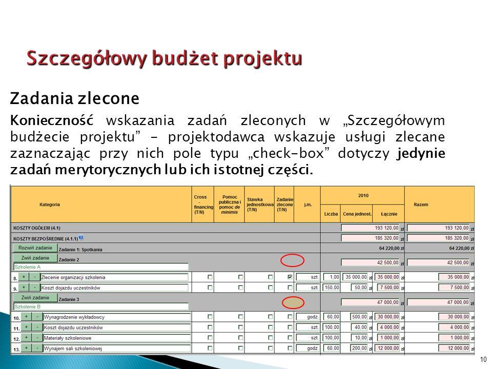 10 Zadania zlecone Konieczność wskazania zadań zleconych w Szczegółowym budżecie projektu - projektodawca wskazuje usługi zlecane zaznaczając przy nich pole typu check-box dotyczy jedynie zadań merytorycznych lub ich istotnej części.