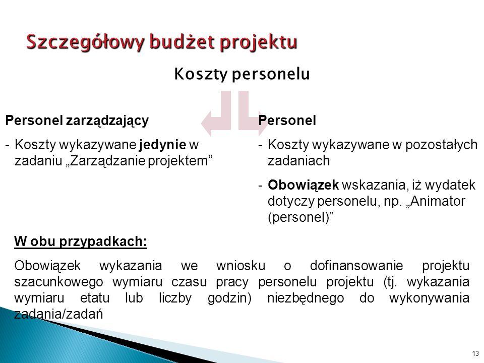 Koszty personelu 13 Personel zarządzający -Koszty wykazywane jedynie w zadaniu Zarządzanie projektem Personel -Koszty wykazywane w pozostałych zadaniach -Obowiązek wskazania, iż wydatek dotyczy personelu, np.