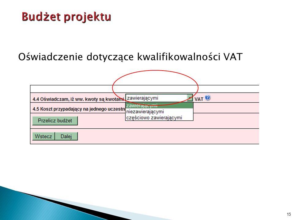 Oświadczenie dotyczące kwalifikowalności VAT 15