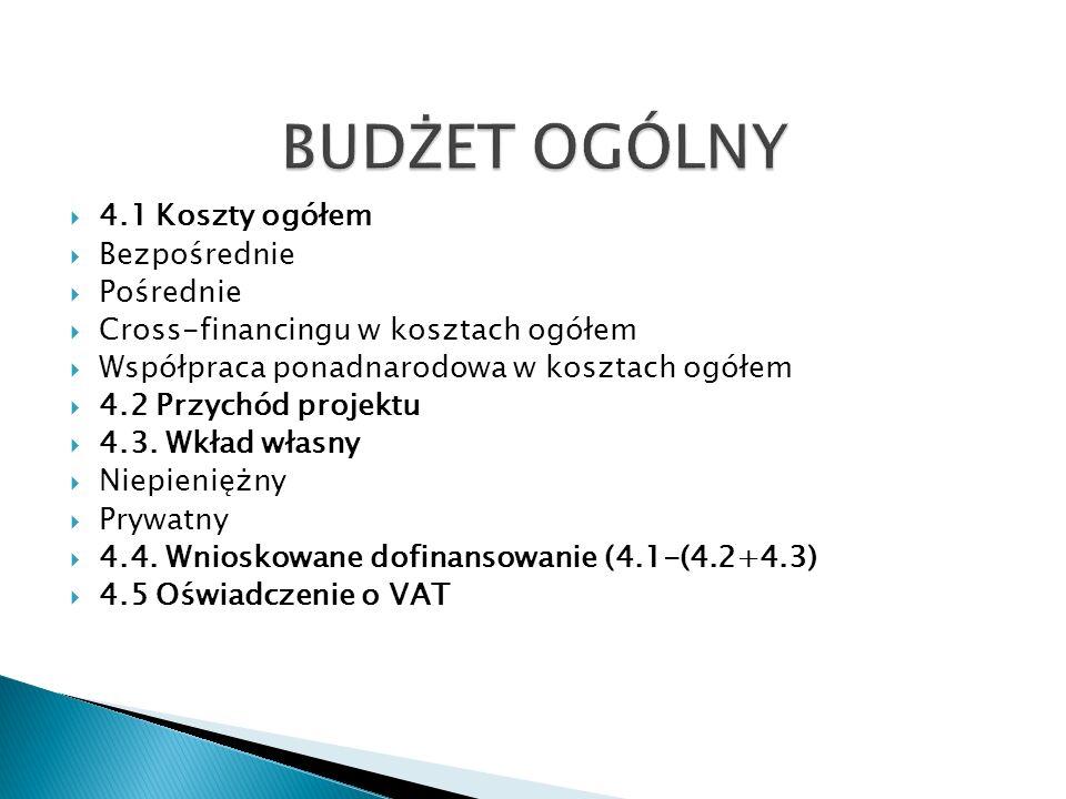 4.1 Koszty ogółem Bezpośrednie Pośrednie Cross-financingu w kosztach ogółem Współpraca ponadnarodowa w kosztach ogółem 4.2 Przychód projektu 4.3.
